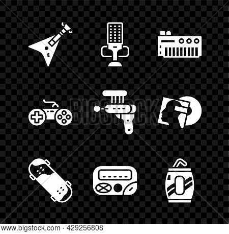 Set Electric Bass Guitar, Microphone, Music Synthesizer, Skateboard Trick, Pager, Soda Can With Stra