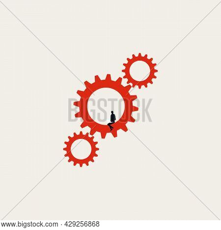Business Process Automation With Programmer, Vector Concept. Symbol Of Modernization Workflow, Techn