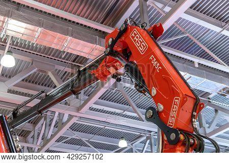 Telescopic Boom Of The Fassi F365c Lift Close-up. Construction Industry Fair Bauma Cct Russia. Fassi
