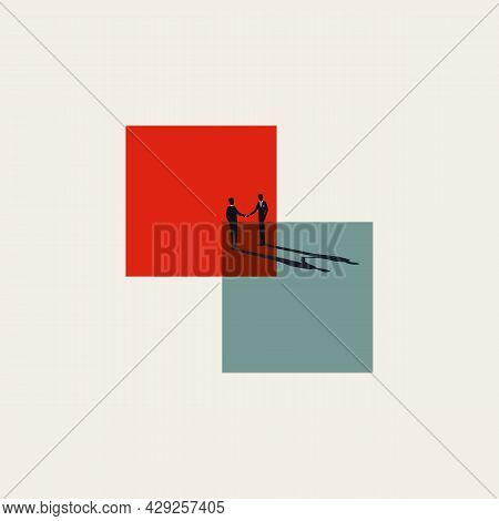 Business Merger, Acquisition And Deal Vector Concept. Symbol Of Cooperation, Partnership Handshake.