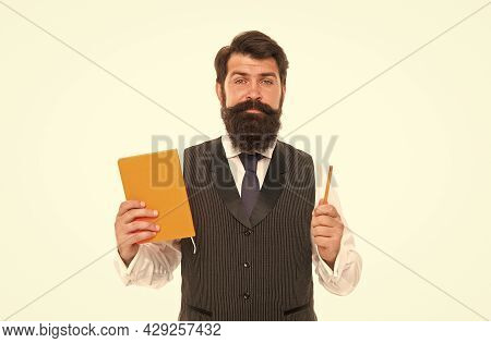 Ready To Study. Bearded Man Hold Study Book And Pen. Back To School Supplies. September 1. Formal Ed