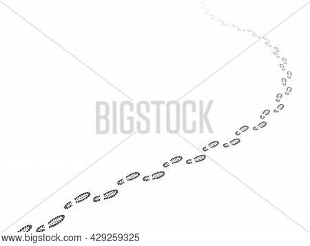 Walking Away Footsteps. Footpath Perspective. Shoe Prints Steps Way. Path Tracking Line. Going Route