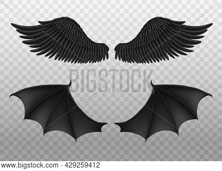 Realistic Black Wings. Pair Of Dark Feathers Raven And Bat Wings, Crow Bird Parts, Isolated Demon El