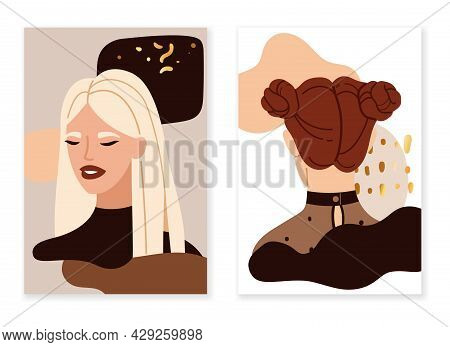 Female Portraits Abstract. Trendy Beautiful Young Women Faces Compositions. Pretty Blonde And Brunet