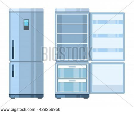 Fridge. Closed And Open Empty Refrigerator, Kitchen Household Appliances, Home Preserve Food, Electr