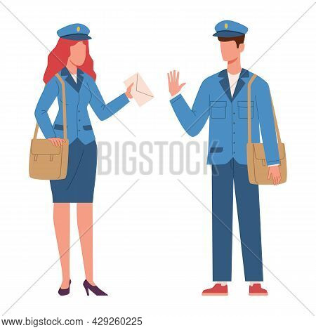 Postman Characters. Woman And Man In Mailman Blue Uniform With Bag And Letter In Hands. Male And Fem