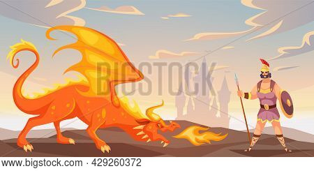 Battle With Dragon. Ancient Warrior Fighting Fire-breathing Monster. Man Defends Castle From Winged