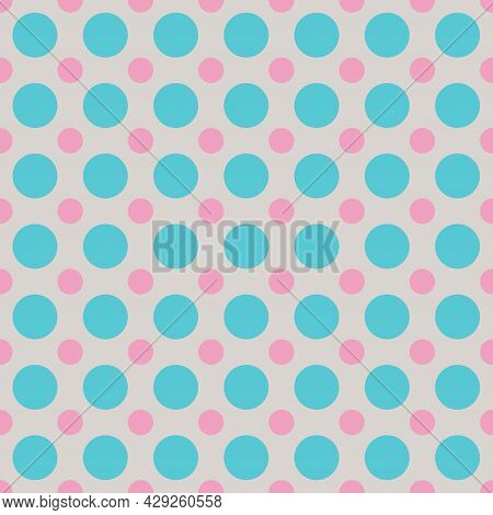 Polka Dot Pattern, Blue Radiance Mix With Prism Pink And White Sand Color. Seamless Background For G