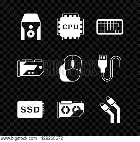 Set Uninterruptible Power Supply, Processor With Cpu, Keyboard, Ssd Card, Video Graphic, Lan Cable N