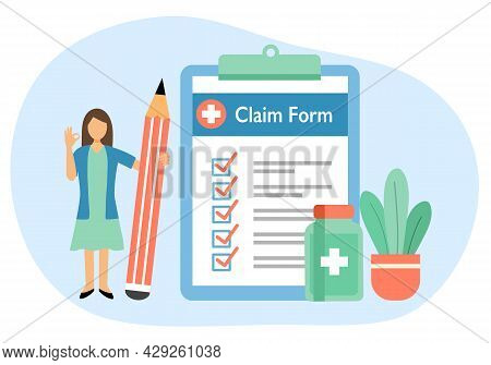 Woman Standing With Health Insurance Claim Form, Medicine And Pencil In Flat Design. Medical Insuran