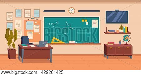 Interior Of Empty School, College Or University Classroom Or Auditorium. Room With Blackboard And Fu