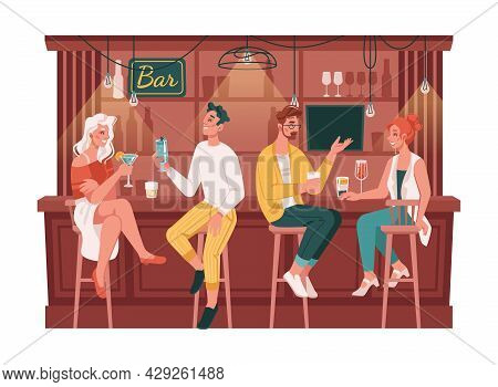 Friends Sitting By Counters In Bar Or Pubs, Visitors Chatting And Drinking Cocktails. Men And Women