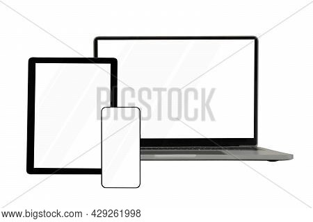 Laptops, Tablets And Mobile Phones. Mock Up Image Of Electronic Gadgets Isolated On White Background