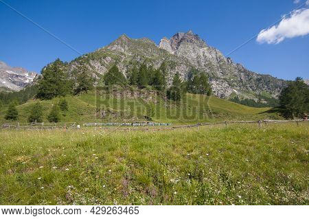 Summer View Of Devero Valley During Summer Day Of Sun In Piedmont, Italy