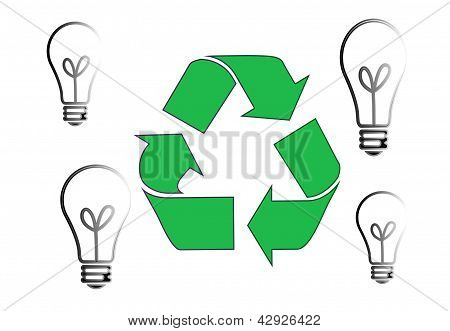recycling sign and bulb light