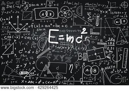 Math Educational Vector Seamless Pattern With Handwritten Geometry Figures, Calculations And Equatio