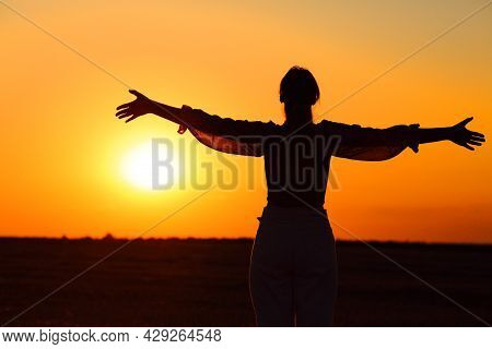 Back View Portrait Of An Excited Woman Silhouette Outstretching Arms At Sunset