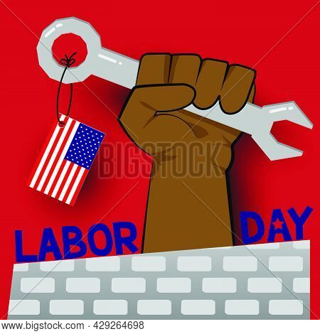 Labor Day Usa Vector Label Or Banner Background. Vector Happy Labor Day Poster Or Banner With Clench