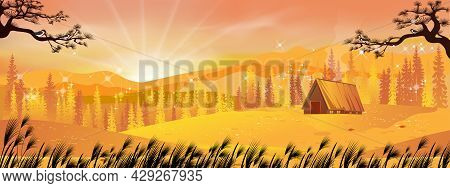 Autumn Wonderland Landscape Card With Sunset Silhouettes Of Misty Pine Trees In Forest With Wood Bar