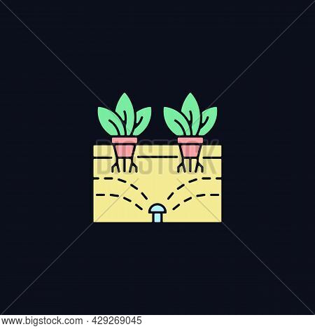 Aeroponics Rgb Color Icon For Dark Theme. Grow Plants With Air, Water And Nutrients. Biotechnology.