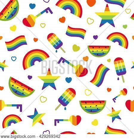 Lgbt Seamless Pattern With Colorful Rainbow, Icecream, Watermelon, Star, Heart Vector Illustration.