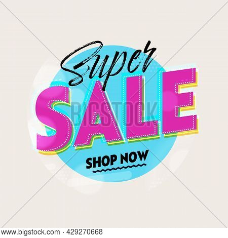 Super Sale Banner Template With Party Design Background. Promotion Poster Layout With Special Offer