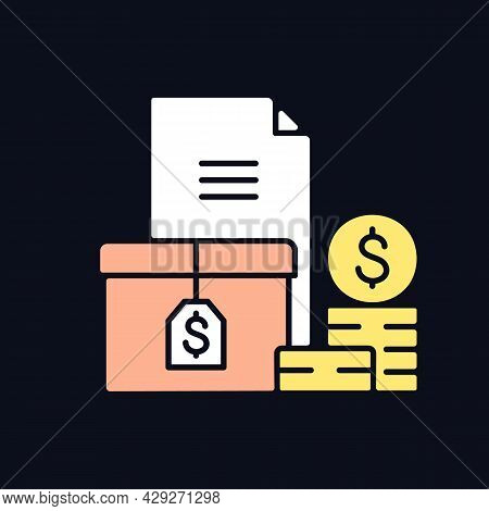 Accounts Receivable Rgb Color Icon For Dark Theme. The Balance Of Money Due. Current Asset. Payment