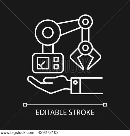 Machinery Owning White Linear Icon For Dark Theme. Robot Arm Mechanism On Hand. Industrial Plant. Th
