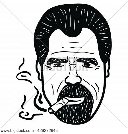 Hand Drawn Face Of A Man With A Beard And A Cigar. Bearded Stylish Man Portrait.