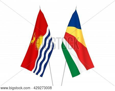 National Fabric Flags Of Seychelles And Republic Of Kiribati Isolated On White Background. 3d Render