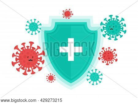 Vector Illustration Of Immune System With Medical Shield Protection. Bacterial And Virus Defense Con