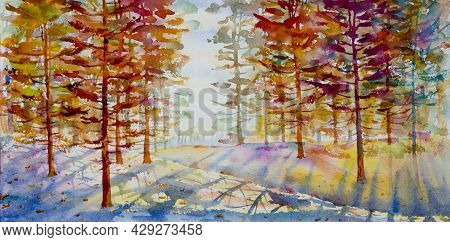 Watercolor Painting Colorful Autumn Trees. Semi Abstract Image Of Forest, Aspen Trees Mountain, Yell