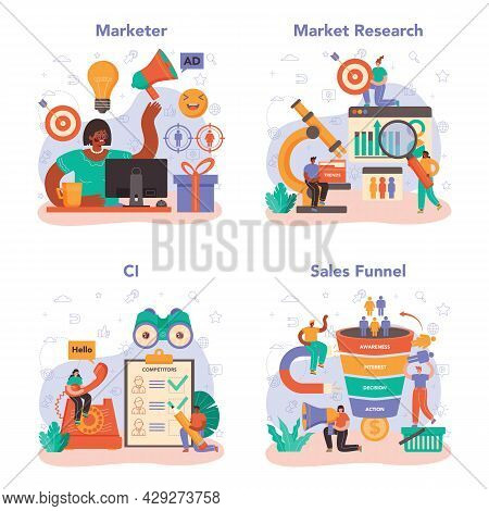 Marketer Set. Brand Or Product Advertising And Promotion. Specialist Developing