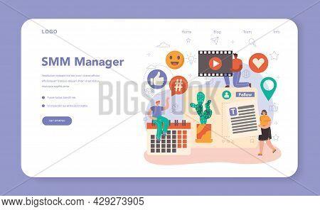 Smm Social Media Marketing Web Banner Or Landing Page