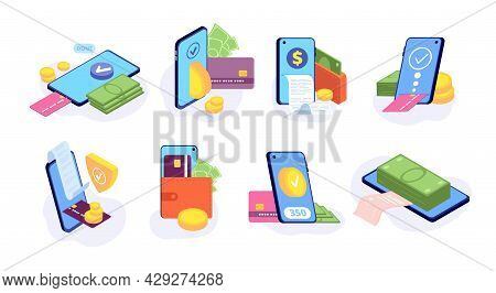 Online Mobile Payments. Money Card Payment Sending, E-wallet Display. Cashless Pay, Digital Bill Tra