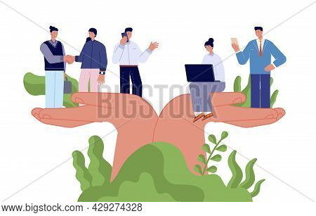 Employee Wellbeing. Corporate Protection, Benefits Caring Business People. Giant Hands Holding Tiny