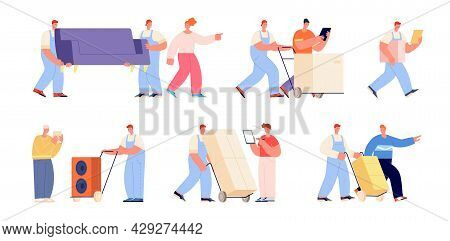 Moving And Delivery Service. Women Delivering Box, Movers And Clients. Warehouse Workers, Men Helpin