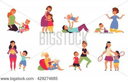 Mother Playing With Kids. Boys Play, Child Sitting On Mothers Kneets. Little Baby And Young Mom, Smi