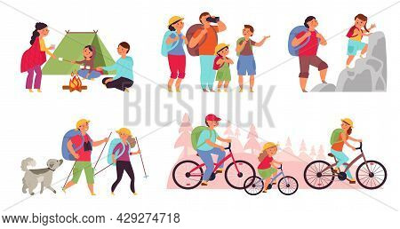 Family Nature Adventures. Happy Trekking, Cartoon Tourist Hiking. People In Camping, Active Fun Life