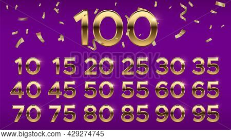 Anniversary Numbers. Golden Celebration Number And Confetti. Birthday Jubilee Dates For Cards, Banne