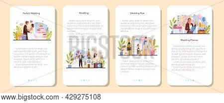 Wedding Planner Mobile Application Banner Set. Professional Organizer