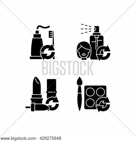 Refill And Reuse Black Glyph Icons Set On White Space. Toothpaste And Brush. Hair Sprayer. Lipstick