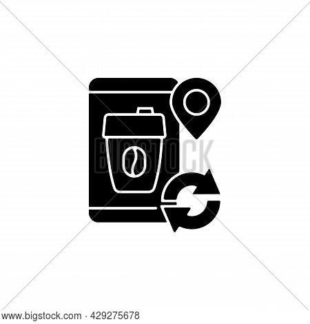 Coffee To Go Refill Cup Black Glyph Icon. Take Away Drinks In Eco Friendly Package. Zero Waste Trave