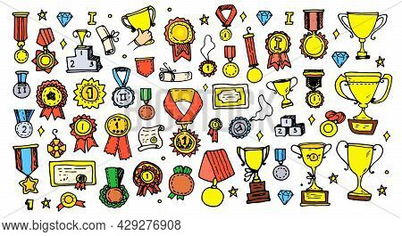 Vector Set Of Medals And Orders With Cups Color. A Collection Of Hand-drawn Doodles In The Style Of