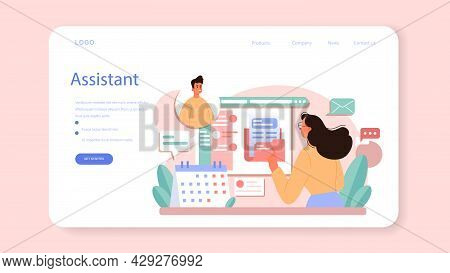 Businessperson Personal Assistant Web Banner Or Landing Page