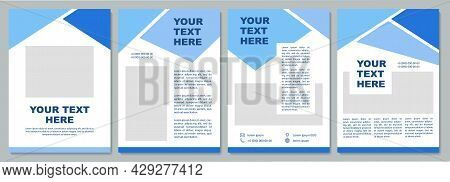 Geometric Blue Informational Brochure Template. Flyer, Booklet, Leaflet Print, Cover Design With Cop