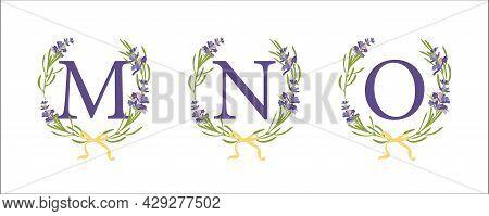 M N O Letter. Set Modern Hand-drawn Flat Sketch Illustrations. Lavender Flower Wreath With Alphabet