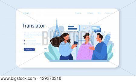 Translator Web Banner Or Landing Page. Linguist Translating Document