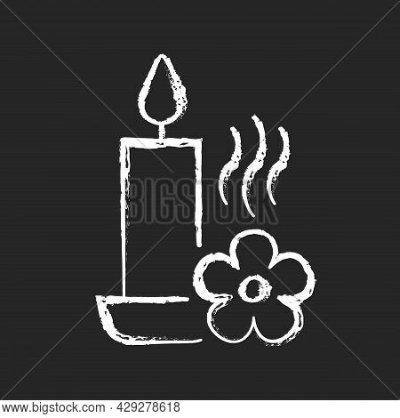 Scented Candle Chalk White Manual Label Icon On Dark Background. Fragrant Oils, Wax Mixture. Burning