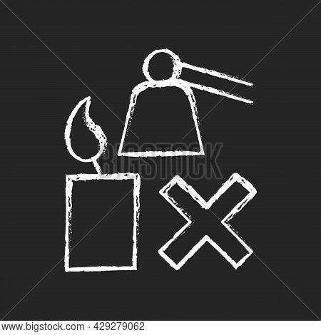 Extinguishing Flickering Candle Chalk White Manual Label Icon On Dark Background. Prevent Rapid Burn